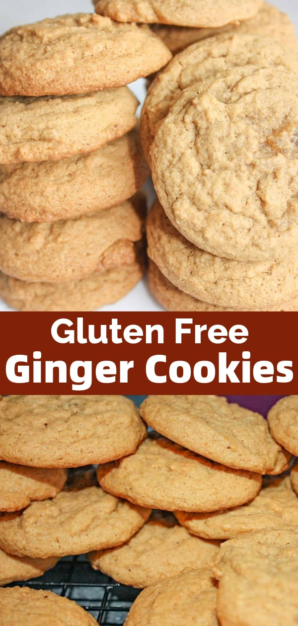 Gluten Free Ginger Cookies are tasty spice cookies flavoured with candied ginger, cinnamon and nutmeg. These easy homemade cookies are made with Bob's Red Mill gluten free flour.