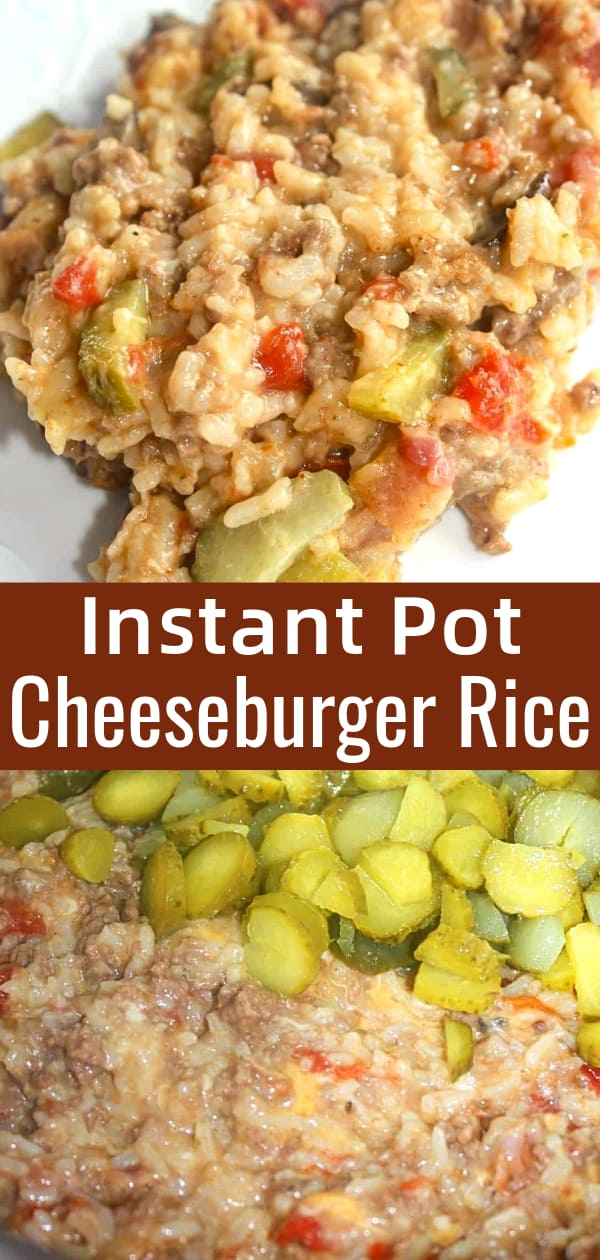 Instant Pot Cheeseburger Rice is an easy pressure cooker dinner recipe. This ground beef and rice dish is loaded with cheese, diced tomatoes, dill pickles and bacon.