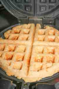 These Gluten Free Seafood Waffles are loaded with salmon, swiss cheese and can be smothered in pure maple syrup before digging in!
