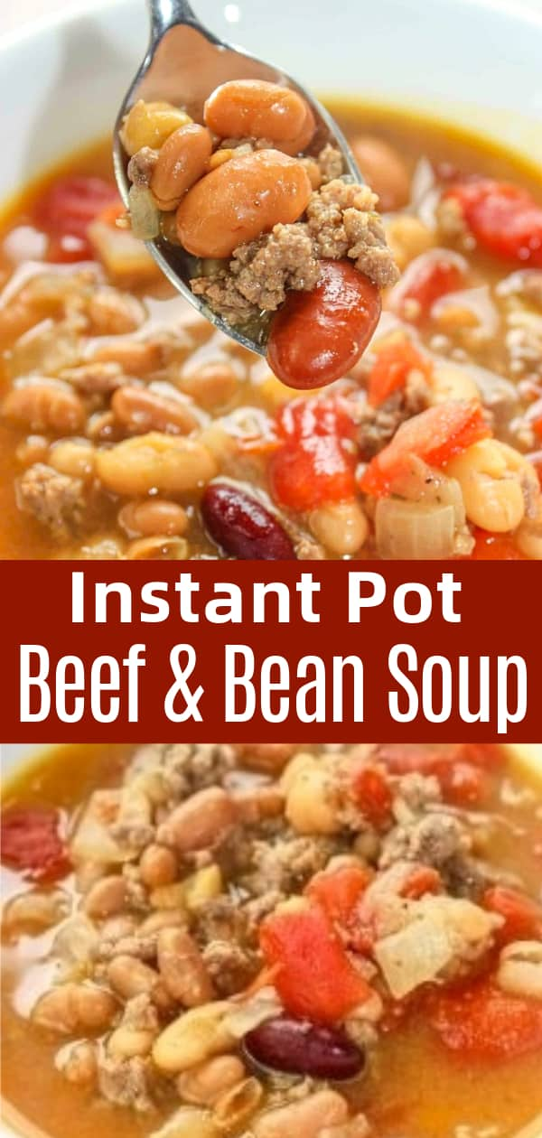 Instant Pot Beef and Bean Soup is an easy hamburger soup recipe loaded with mixed beans, baked beans and diced tomatoes.