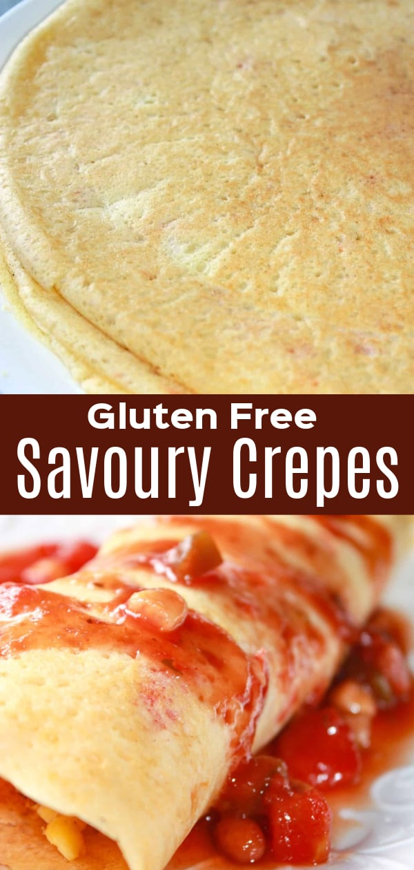 Gluten Free Savoury Crepes are a tasty breakfast recipe made with gluten free Bisquick and Bob's Red Mill flour. These tasty crepes get a bit of a kick from some Frank's Red Hot sauce and diced banana peppers.