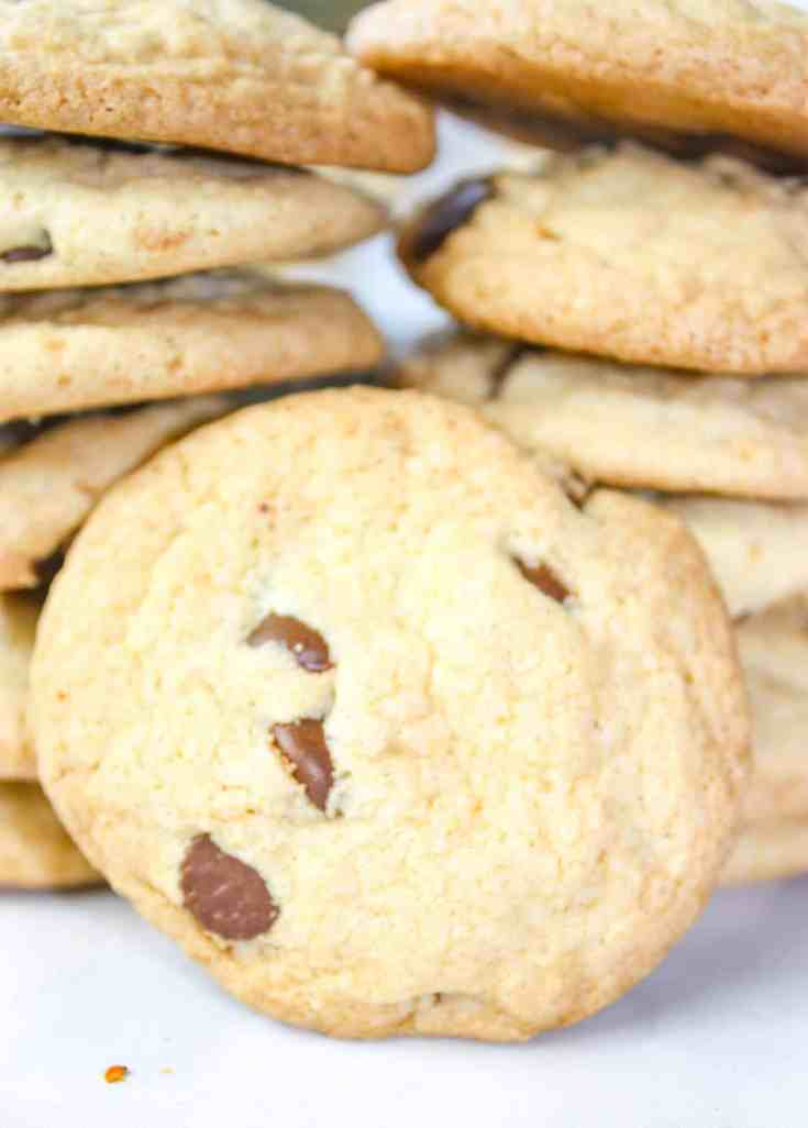 Crunchy Chocolate Chip Cookies satifsy the crispy cravings that some connoisseurs of cookies desire!  These gluten free cookies are loaded with chocolate chips and flavour.
