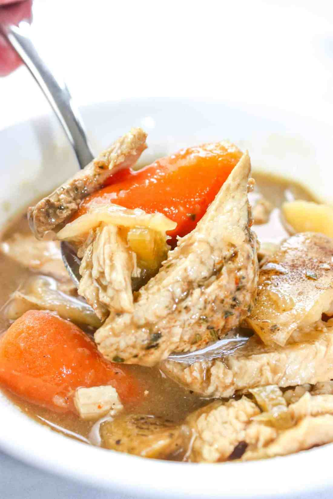 Instant Pot Wild Turkey Stew is a hearty gluten free stew recipe loaded with turkey and vegetables in a thick gravy.