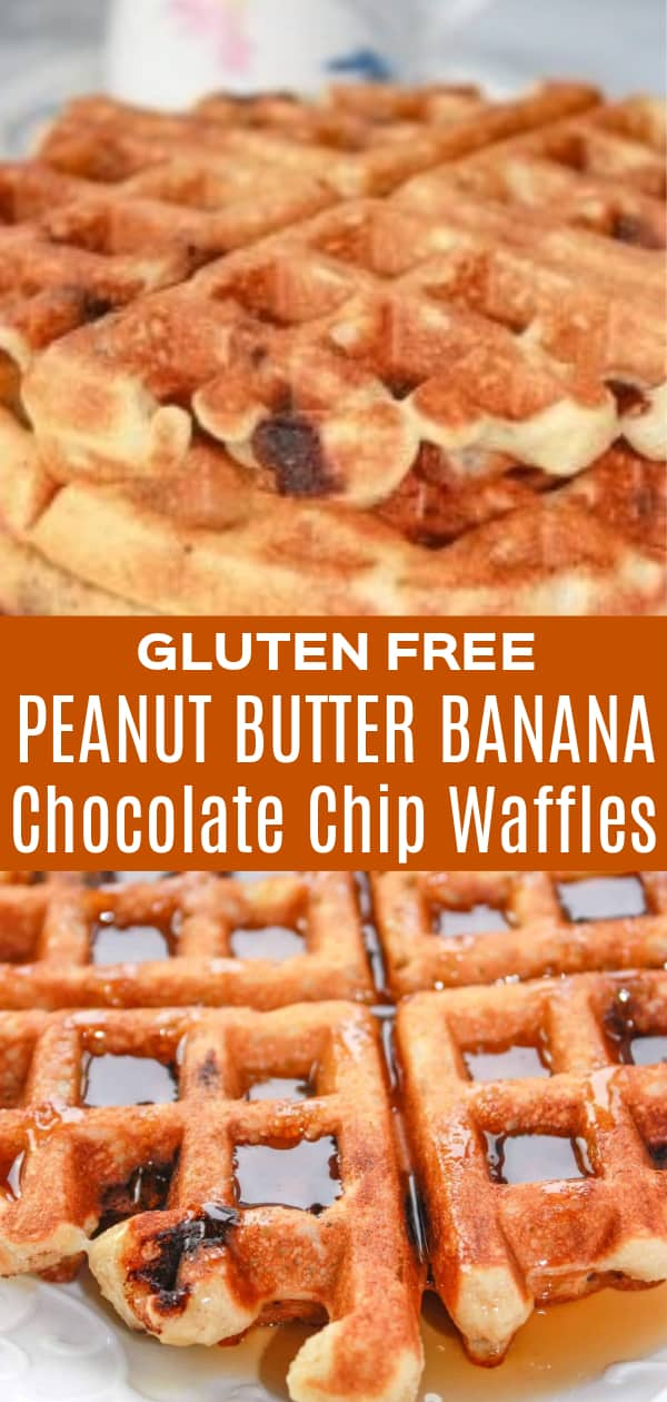 Gluten Free Peanut Butter Chocolate Chip Banana Waffles are a simple and delicious breakfast recipe. These tasty waffles loaded with peanut butter, mashed banana and chocolate chips, are made with Bob's Red Mill gluten free pancake mix.