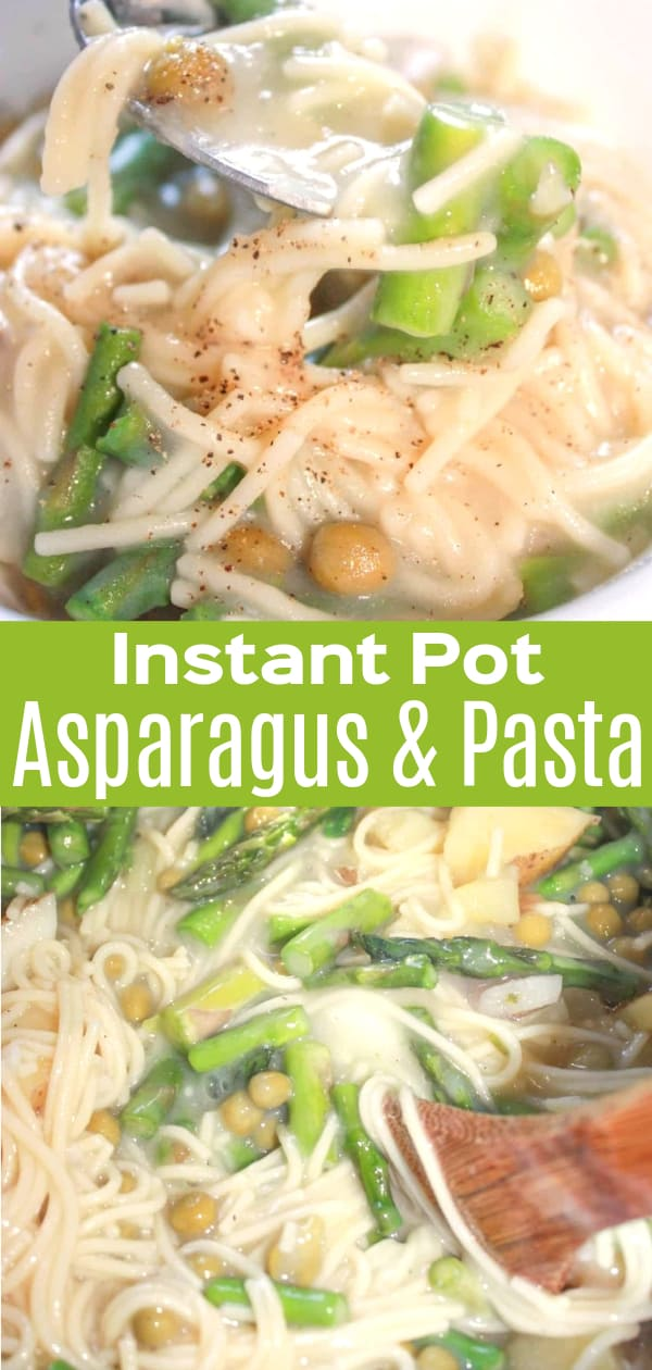 Instant Pot Asparagus and Pasta is an easy gluten free pressure cooker dinner recipe. This Instant Pot spaghetti dish is loaded with chopped asparagus, potatoes and peas.