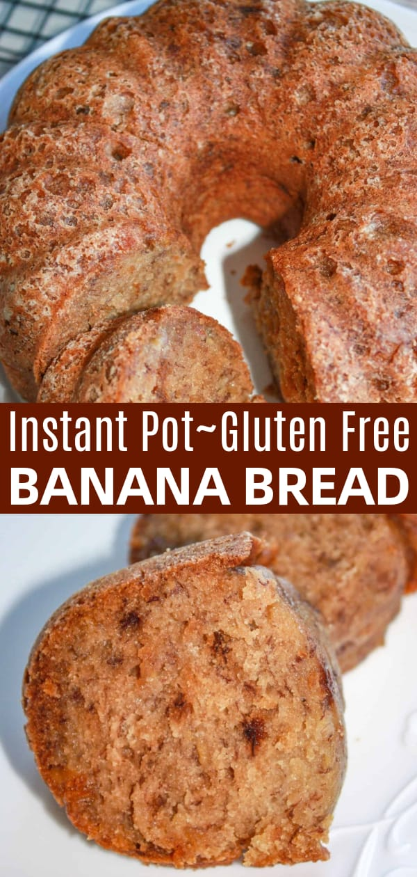 Instant Pot Gluten Free Banana Bread is a moist and delicious treat. This easy pressure cooker banana bread recipe is made using apple sauce and Bob's Red Mill gluten free flour.
