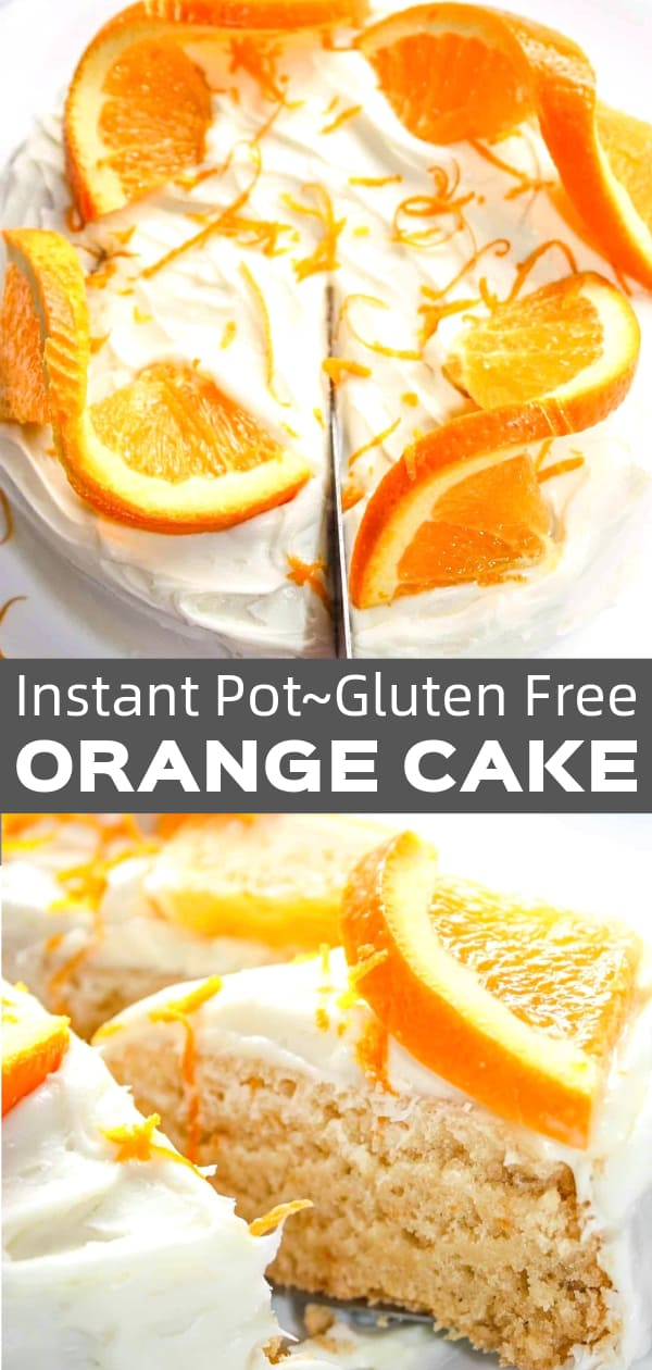 Instant Pot Orange Cake is a tasty gluten free dessert recipe. This citrus cake is made with Bob's Red Mill gluten free flour and topped with vanilla frosting and orange slices.