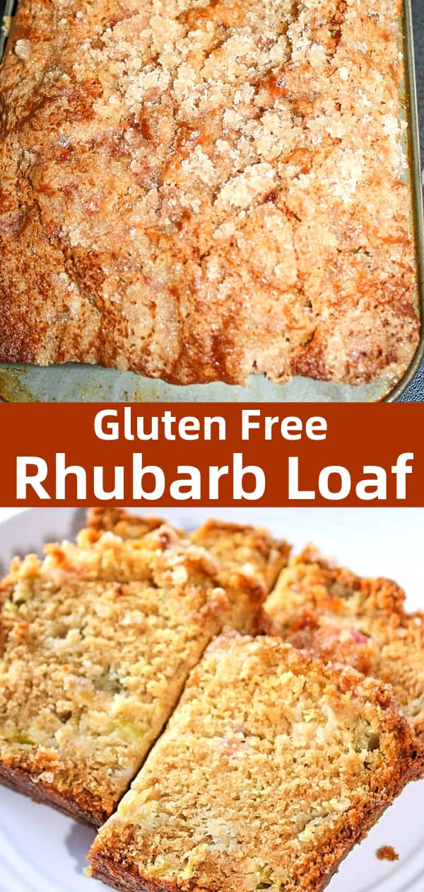 Rhubarb Loaf is a delicious gluten free baking recipe made with fresh rhubarb and topped with a sweet crumble.
