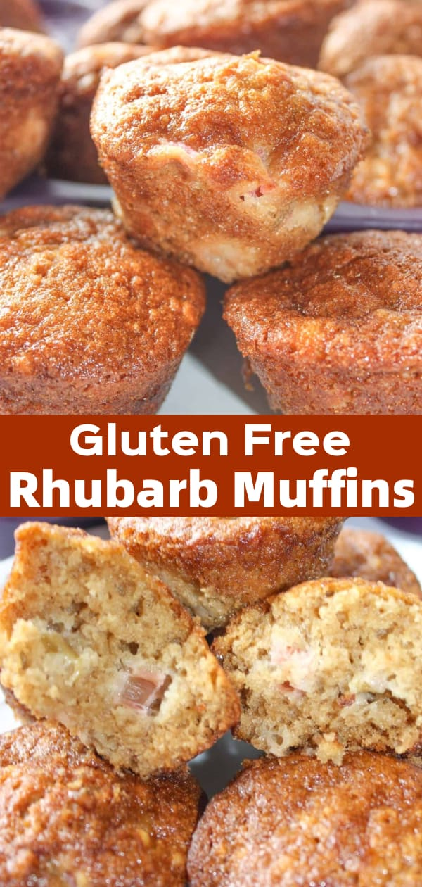 Gluten Free Rhubarb Muffins are a tasty snack made with fresh rhubarb and Bob's Red Mill flour.