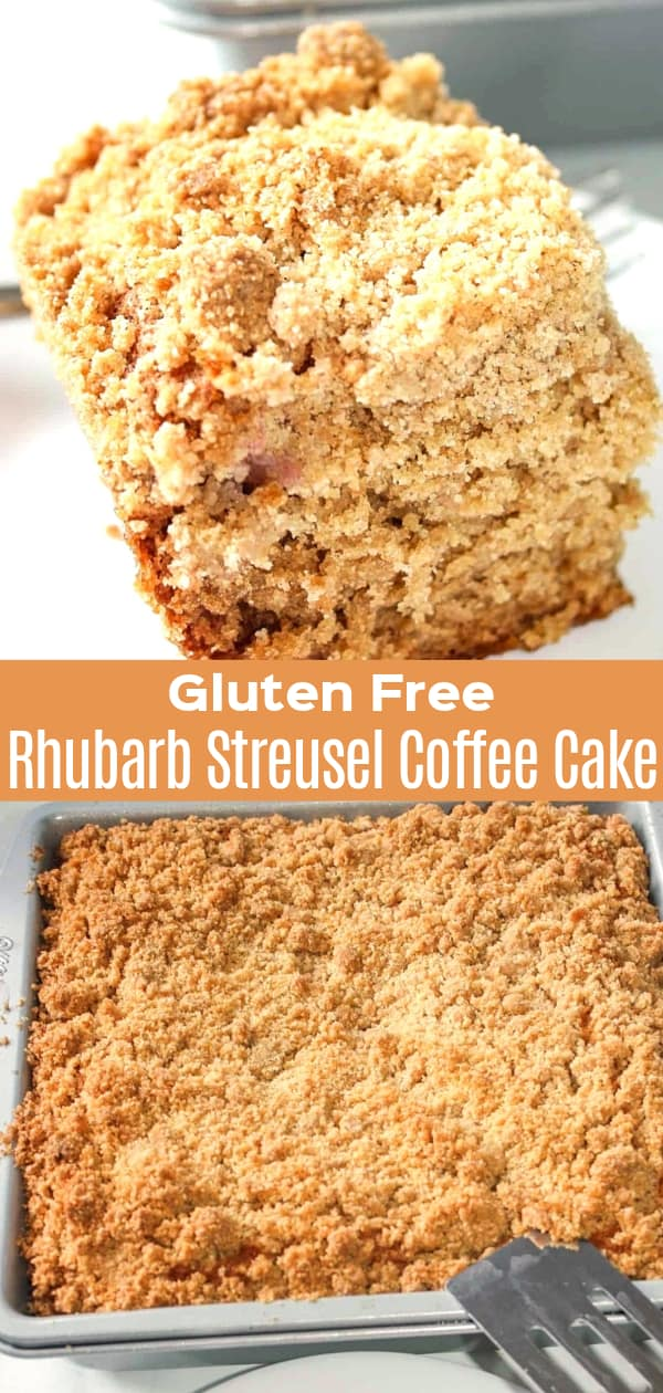 Gluten Free Rhubarb Streusel Coffee Cake is an easy gluten free dessert recipe. This coffee cake is made with fresh rhubarb and has a crunchy streusel topping.