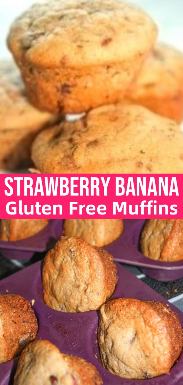 Strawberry Banana Muffins are a delicious gluten free baking recipe. The muffins are made with Bob's Red Mill Flour and loaded with mashed strawberries and bananas.
