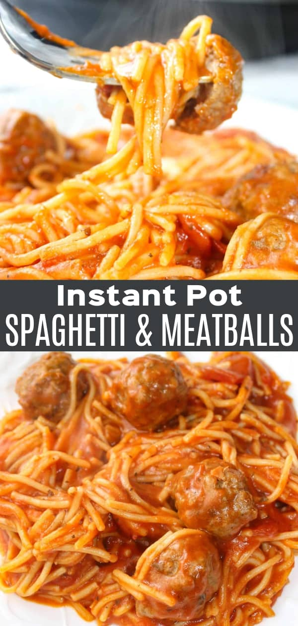 Instant Pot Spaghetti and Meatballs is an easy and delicious pressure cooker pasta recipe.  This family dinner recipe uses gluten free pasta and is loaded with gluten free meatballs and Classico Tomato Basil pasta sauce.