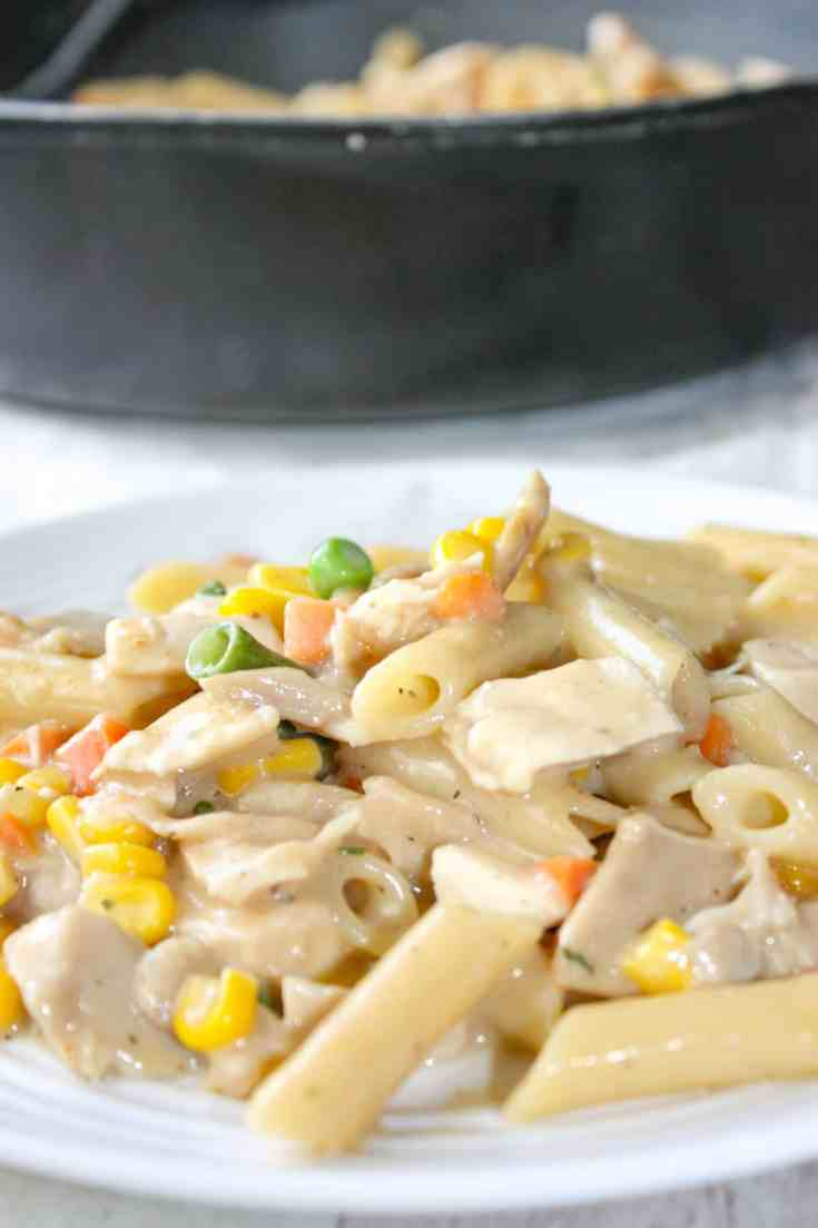 Creamy Stove Top Chicken and Pasta is a comfort recipe that is quick and easy to make. This gluten free skillet dinner is sure to hit the spot any night of the week.
