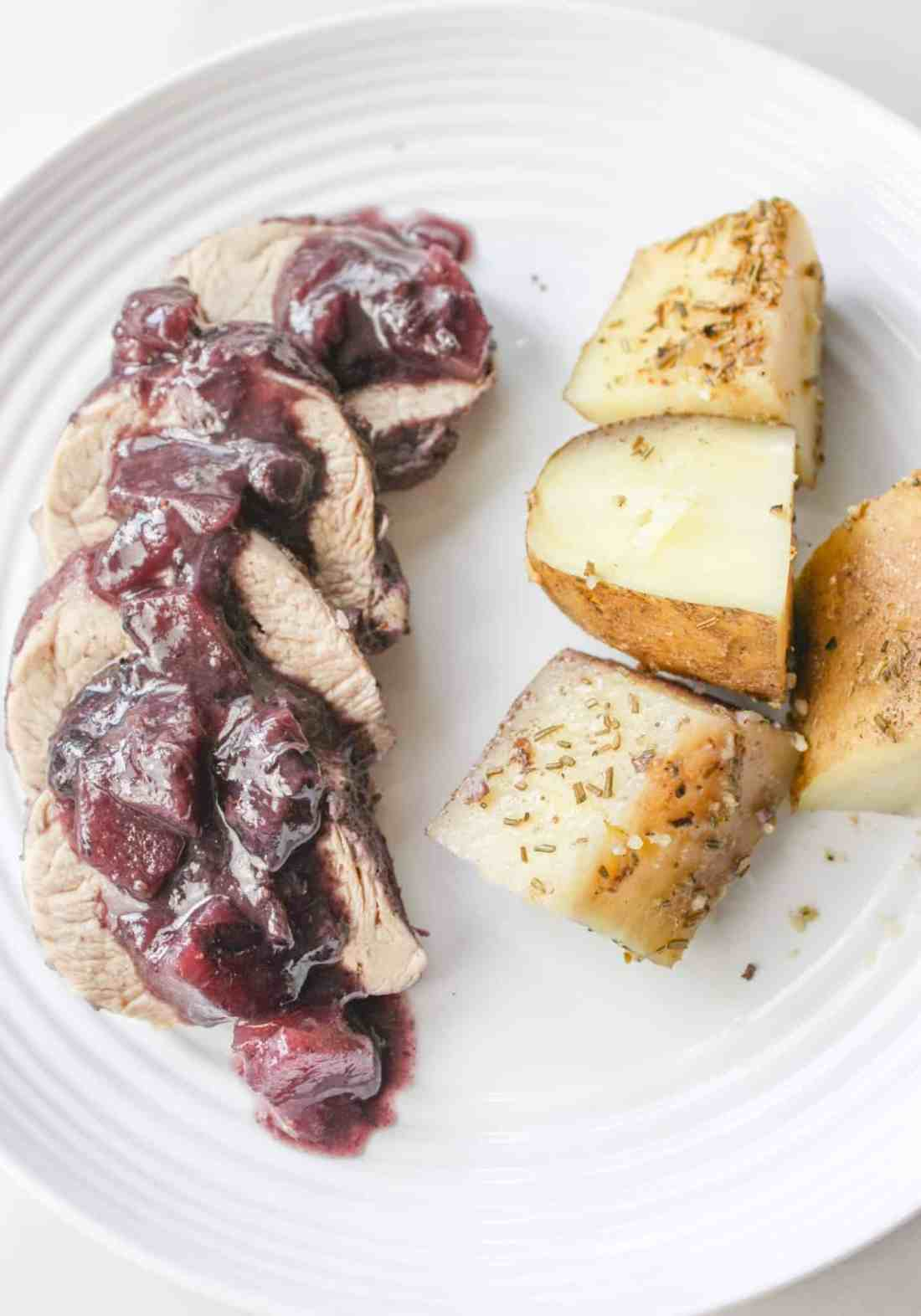 Blueberry Apple Pork Tenderloin & Potatoes is a recipe that will have people thinking you spent a great deal of time in the kitchen.