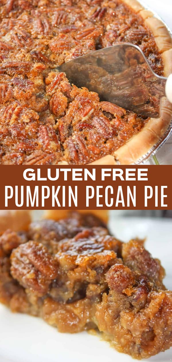 Pumpkin Pecan Pie is a seasonal twist on a traditional pie.  This gluten free dessert will make a wonderful addition to any Thanksgiving menu or treat your family to this flavourful treat any time of the year!