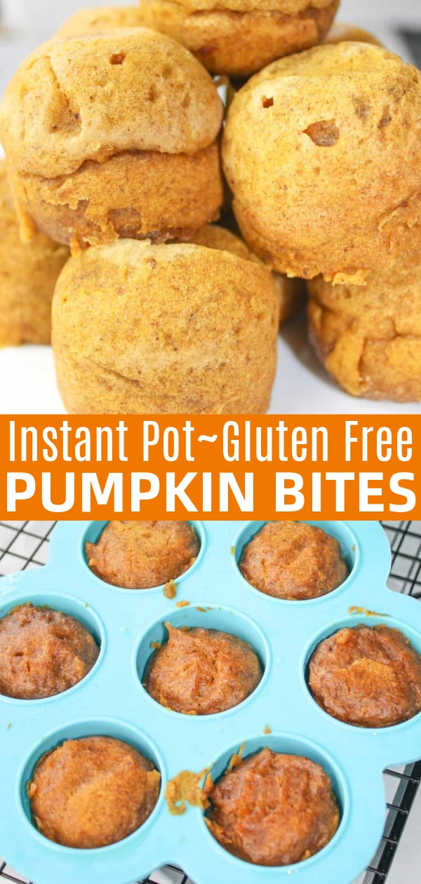 Instant Pot Pumpkin Bites are full of the flavours of fall. This gluten free pressure cooker muffin variation, is loaded with pumpkin, spices and a surprise center if you choose that option.