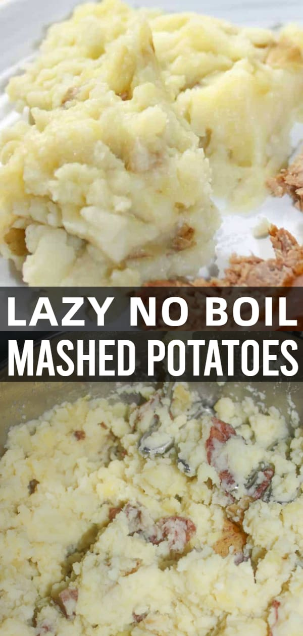 Mashed potatoes are a staple side dish in many of our homes.  Lazy Mashed Potatoes is a quick and easy recipe that skips the peeling and boiling steps.