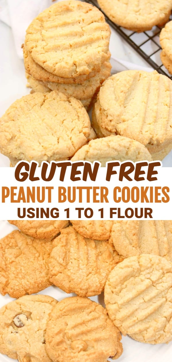 Peanut Butter Cookies 1 to 1 Flour are the perfect gluten free dessert for peanut butter lovers because they incorporate natual peanut butter to get that true peanut taste!
