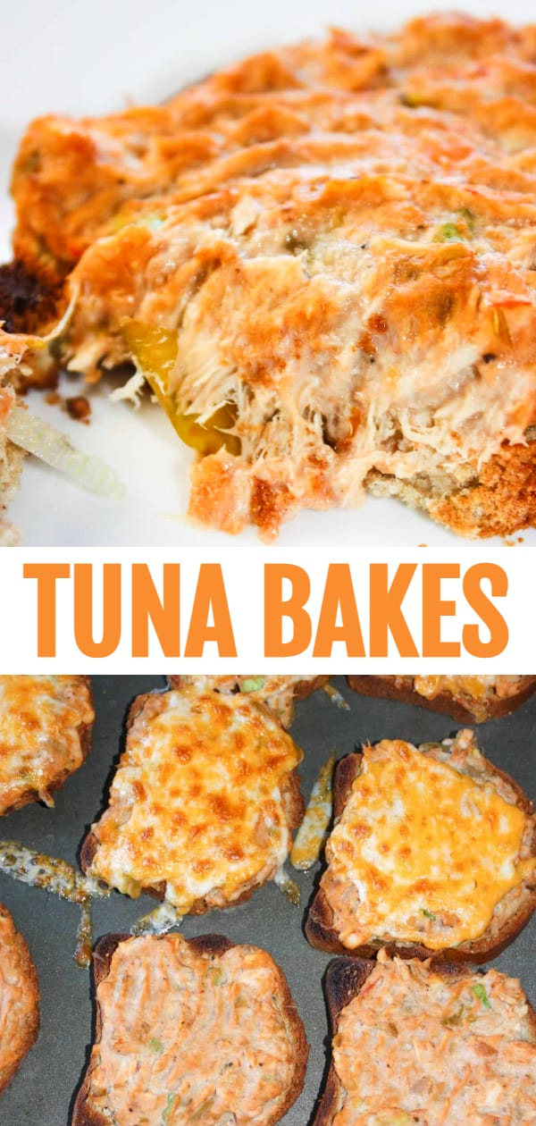 Tuna Bakes are an easy lunch or dinner recipe using canned tuna. A creamy tuna and Miracle Whip mixture is baked on slices of bread. Add cheese to make tuna melts.