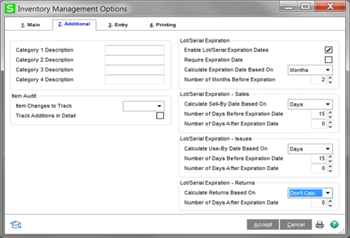 Sage 100cloud 2020 Lot and Serial Expirations