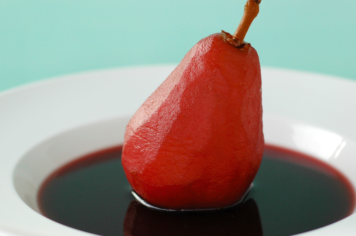 pears poached in beaujolais