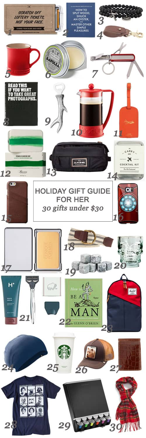 Holiday Gift Guide For Him: 30 Gifts Under $30