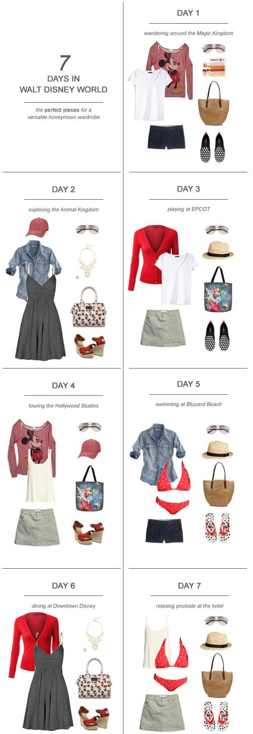 7 Days in Walt Disney World : The Perfect Pieces for a Versatile Honeymoon Wardrobe #travel #fashion #ootd #disney #wdw #honeymoon #bride