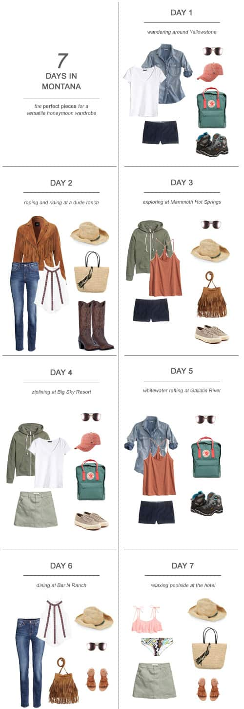 7 Days in Montana : The Perfect Pieces for a Versatile Honeymoon Wardrobe #honeymoon #fashion #packing #travel #Montana