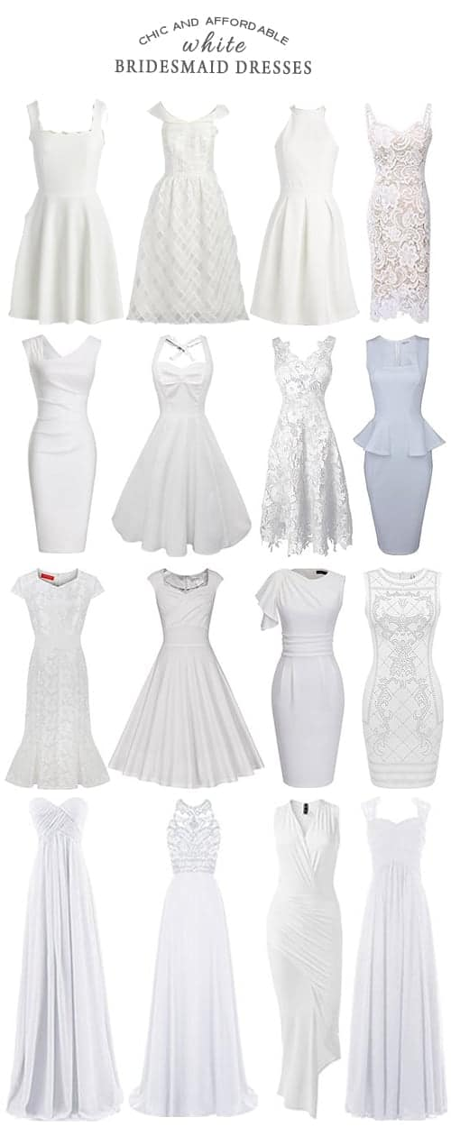 A Selection of Chic and Affordable White Bridesmaid Dresses