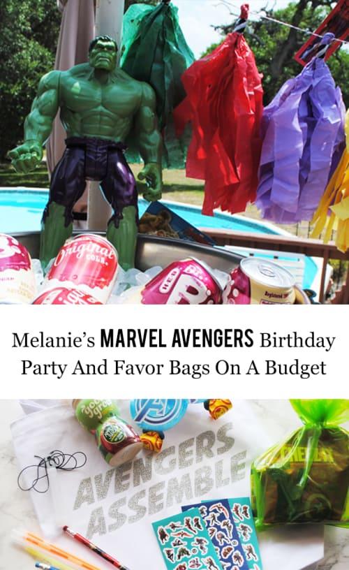 Melanie's Marvel Avengers Birthday Party And Favor Bags On A Budget #GirlsLoveSuperheroesToo #Marvel #Avengers #BirthdayParty #Thor #IronMan #CaptainAmerica #BlackWidow #Hulk #Hawkeye