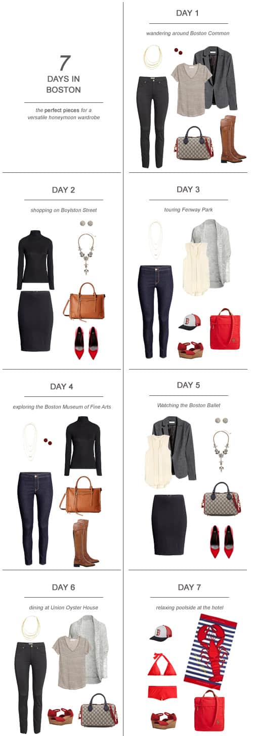 7 Days in Boston : The Perfect Pieces for a Versatile Honeymoon Wardrobe #honeymoon #packing #capsulewardrobe #travel