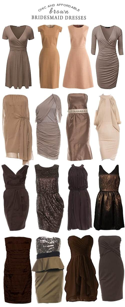 A Selection of Chic and Affordable Brown Bridesmaid Dresses
