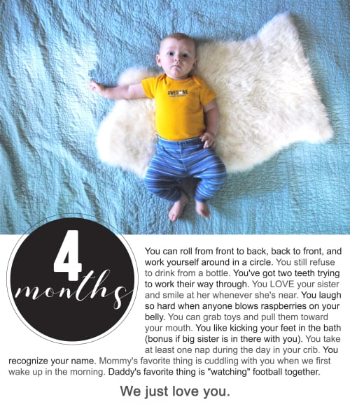 Finnegan's First Year Photo Project : Four Months