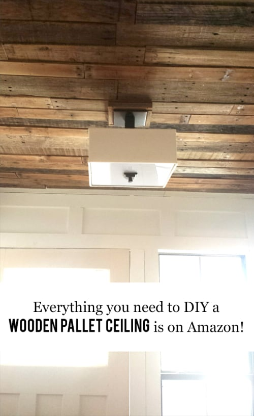 Everything You Need To DIY Your Own Wooden Pallet Ceiling Is On Amazon  #homeimprovement #