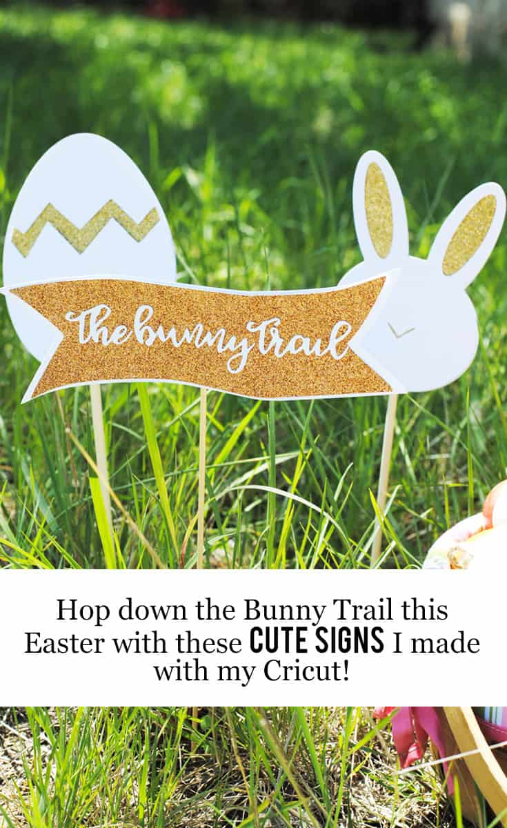 Hop Down the Bunny Trail this Easter with these Cute Signs that I Made with my @OfficialCricut #DIY #Cricut #ad