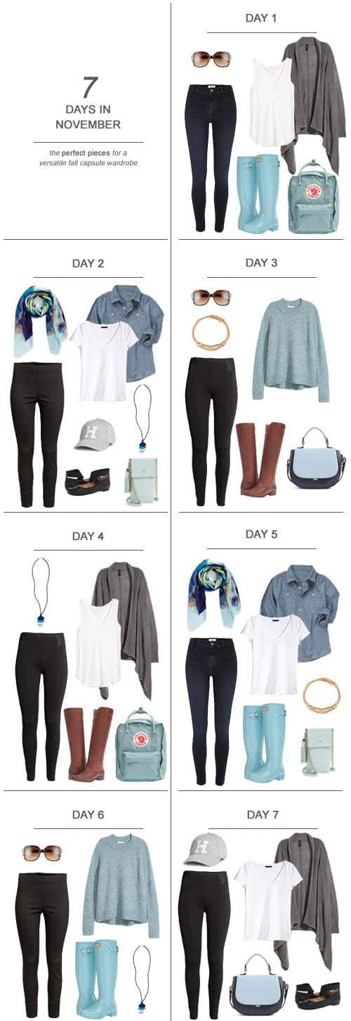 7 Days in November : The Perfect Pieces for a Versatile Fall Capsule Wardrobe #capsulewardrobe #ootd #travel #sahm #fashion #packing #fall