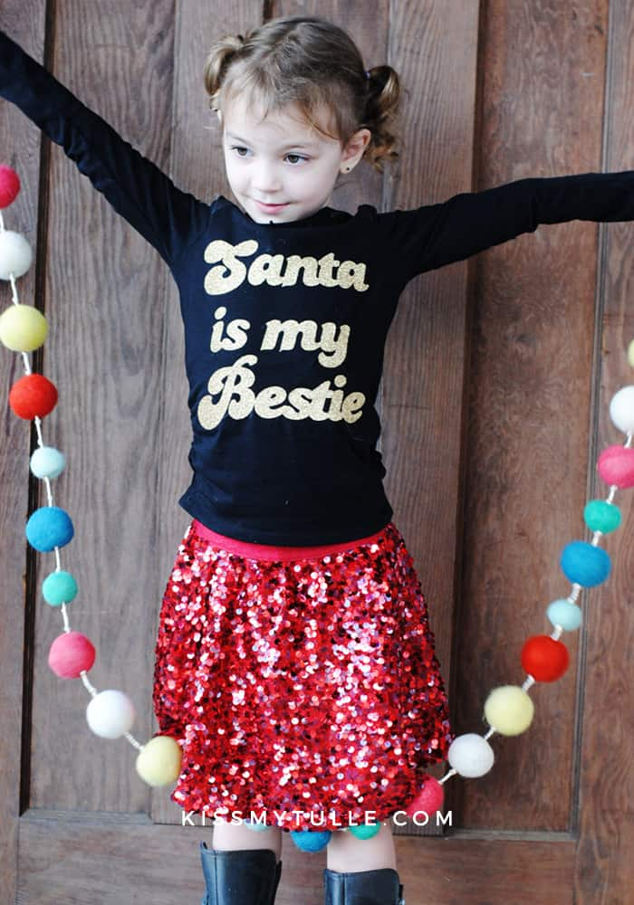 Santa is my Bestie T-Shirt DIY featuring @officialcricut #cricutmaker #cricutmade #cricut #ad #Christmas #Santa #ironon #holidays