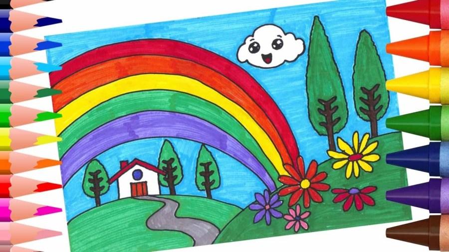 رسم منظر طبيعي للاطفال مناظر طبيعية خلابة سهلة الرسم دلع ورد