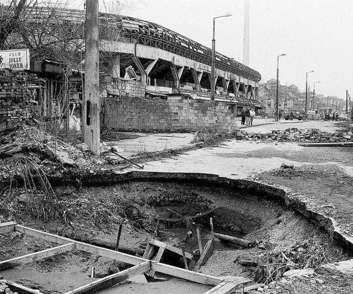 Grbavica stadium in Sarajevo after the war.