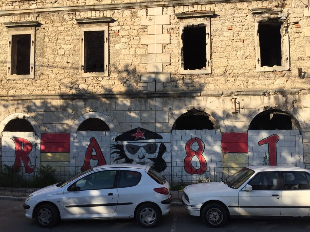 Left wing tradition on a war-torn building: Velez's Red Army supporters' club