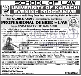 University of Karachi Admissions 2014 Morning, Evening Programs, Eligibility Criteria, Registration Form