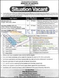 Govt of Pakistan Ministry of Defence PASB Sectt Situations Vacant Jobs 2014 Application Eligibility