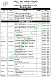 Federal Public Service Commission CSS Exams Schedule 2015 (Date Sheet)