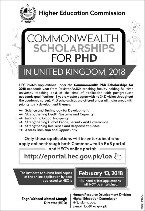 Commonwealth HEC Scholarships For PHD UK 2018 Online Apply