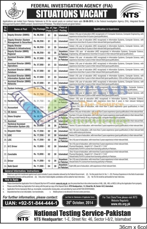 FIA IBMS Jobs 2016 NTS Test Application Form Eligibility Criteria Registration How to Apply