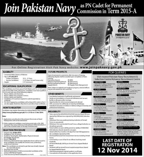 Join Pakistan Navy As A PN Cadet for Permanent Commission in Term 2017-A Eligibility Criteria Application Form Last Date.
