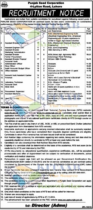 Punjab Seed Corporation Jobs 2016 NTS Test Application Form Eligibility Criteria Last Dates