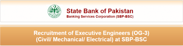 State Bank of Pakistan Jobs 2016 NTS Test Application Form Eligibility Criteria Executive Engineers OG-3 SBP-BSC