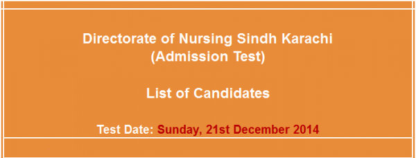 Directorate of Nursing Sindh Karachi Admission NTS Test Answer Key Result Online