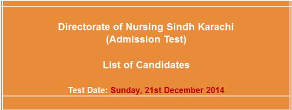 Directorate of Nursing Sindh Karachi Admission NTS Test Answer Key Result Online